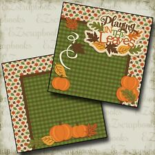PLAYING IN THE LEAVES - NPM - 2 Premade Scrapbook Pages - EZ Layout 2417