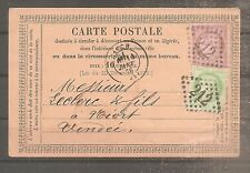 TIMBRE FRANCE FRANKREICH CARTE PRECURSEUR 1876 N°53/54 OBLITERE USED AUCH/NIORT