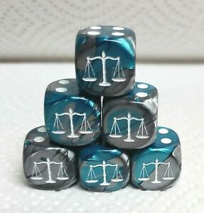 Dice -Custom Scales>*Six* 16mm Gemini Steel/Teal>White Scales as #1 w/White Pips