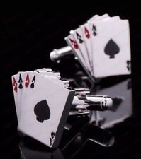 Casino Poker Card Gambling Cufflinks - Suit of Aces FREE Gift Pouch Uk Seller