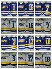 Hanson Brothers Slap Shot Chiefs Charlestown Ice & Roller Hockey Jersey USA Sewn