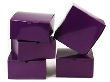 10pc Holiday Christmas 8 x 8 x 4 inches Purple Paper Gift Boxes with Lids Boxes