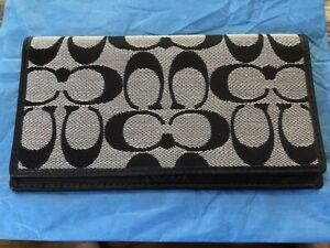 NWOT Coach signature checkbook cover holder wallet black and gray UNISEX