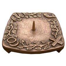 Taufkerzenleuchter 4 Symbole Quadrat Bronze braun 14 cm baptism candle holder
