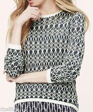 NWT Ann Taylor LOFT Linen Knit Geo Sweater Size S