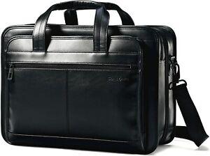 Samsonite Leather Expandable Laptop Business Case Briefcase Black