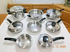 SEAL-O-MATIC Waterless Cookware Set Thermium Stainless Steel VERY NICE Pot Pan