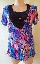 New Sun Rose size 20 blue black purple print top NWT short sleeves