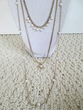 NWT Auth Lucky Brand Semi Precious Sim Pearl 3 Row Layered Chain Necklace $39
