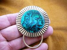 (#E747) Green blue Paua shell Eyeglass brooch ID badge holder