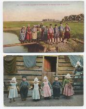 2 Dutch postcards - Volendam children & Eiland-Marken fishing