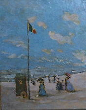 "Alfred Stevens (1823-1906) Oil on Board ""Sur Le Plage"""
