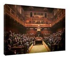 Banksy Painting Of Chimpanzees in Parliament Reprint On Framed Canvas Wall Deco