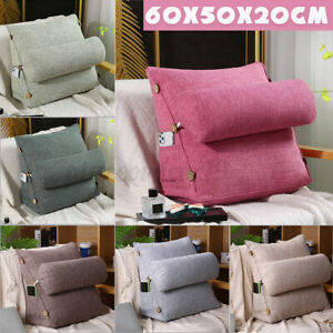Adjustable Wedge Back Pillow Chair Rest Neck Home Sofa Bed Lumbar Office  //