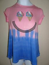 NWT JUSTICE SIZE 12 STUDDED SWINGY TEE GRAY CONE TOP NEW KEYHOLE BACK SHIMMER