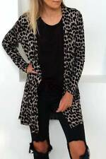 UK Women's Long Sleeves Leopard Print Cardigans Ladies Casual Loose Coat Jacket
