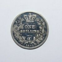 1861, Shilling Great Britain Silver Low Mint 1.3 MM High Value Vintage Coin