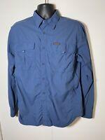 COLUMBIA Titanium Blue Long Sleeve Button Up Casual Shirt Mens Size Large