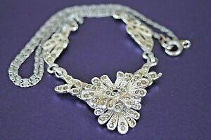 Vintage HOLLYWOOD marcasite silver coloured necklace signed