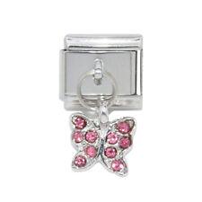 Pink Stone Butterfly dangle Italian Charm - fits 9mm Classic charm bracelets