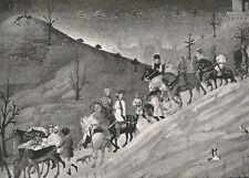 D0246 Sassetta - Il viaggio dei Re Magi - Stampa d'epoca - 1930 old print
