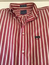 Faconnable Striped Red Button Front Long Sleeve Dress Shirt Mens S