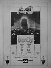 PUBLICITÉ 1928 BOUGIE AC UTILISÉS PAR BUGATTI FARMAN HISPANO CHENARD DELAHAYE