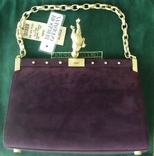 RARE BARRY KIESELSTEIN CORD TOAD PLUM PURPLE SUEDE EVENING BAG PURSE DARLING!