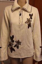 Karen Scott Cream With Brown Foral Pattern Zip Jumper Size 3