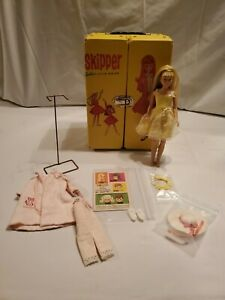 Vintage Skipper Doll 1960s Case Doll With Headband Clothes Accessories