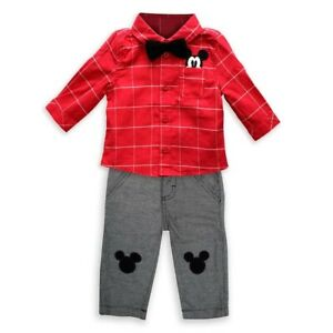 Disney Store Mickey Mouse Holiday Shirt and Pant Set for Baby 3-6 Months