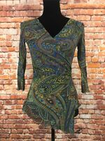 Sweet Pea Women's Blue Paisley Mesh Top Nylon Fitted Stretch Faux Wrap Top - M