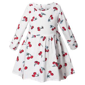Kids Kids Girls Holiday Floral Printes Dresses Princess Long Sleeve Tutu Dresses