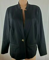 Eloquii Women's Size 16 Black Blazer Faux Pockets One Button Long Sleeve Career