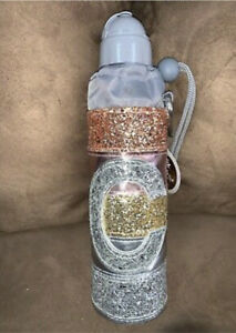 """JUSTICE WATER BOTTLE INITIAL """" C"""" ROSE GOLD SILVER SHIMMERING STRIPES SUPER CUTE"""