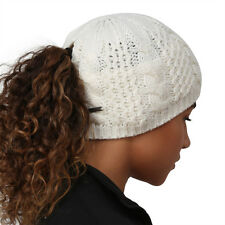 TrailHeads Women's Cable Knit Ponytail Beanie - wintry white