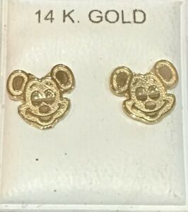 Brand New 14kt Gold MICKEY MOUSE Stud Earrings - Free Shipping!
