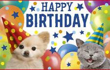 Geburtstagsteelicht Geburtstag Geburtstagkarte Kerze Happy Birthday Hund/Katze