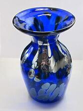COBALT BLUE Art Glass SILVER SPOTS  VASE hand blown glass  ORIGINAL USA Artist