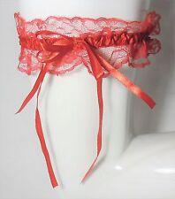 Lingerie accessoire mariage  : jarretière en dentelle rouge noeud satiné