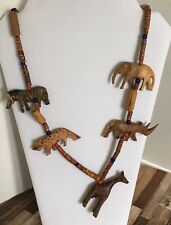 "Carved Wood Animals Fetish 28"" Giraffe Vtg Ethnic African Tribal Necklace Hand"