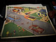 Ancienne Affiche Scolaire Rossignol Station Esso Autocar Isobloc & Peugeot 203