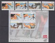 NUOVA Zelanda: 1992 GIOCHI OLIMPICI Set + MIN Foglio SG 1670-3+ms1674 Gomma integra, non linguellato