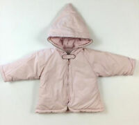 Jacadi Paris Size 12 Months 74 CM Light Pink Puffy Winter Hooded Jacket Coat