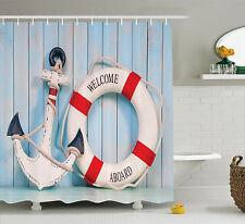 Anchor and Stripe Lifebuoy Polyester Fabric Bathroom Shower Curtain Set