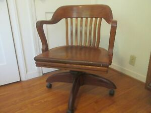 1946 Walnut Bankers Chair Manufactured by W.H. Gunlocke Chair Co.