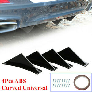 4 Pcs Car Rear Bumper Spoiler Lip Diffuser Shark Fin Curved Black ABS Universal