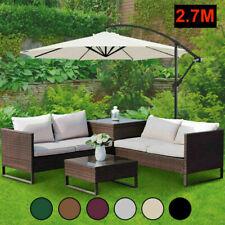 Garden LED Parasol Cantilever Sun Shade Banana Hanging Umbrella Patio 2.7M