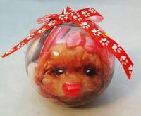 "Poodle Dog Ball Ornament Blinking Light Up 3"" Decoupage Christmas Gift"