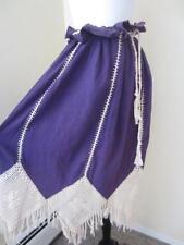 Vintage 1970's Gauze Purple Skirt w/ Ivory Crochet Trim Hippy Gypsy Size L XL